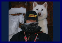 Here's Pingo and me after our run. I managed this shot with a tripod and camera set with its self-timer shot. It took a couple of attempts but Pingo obliged. At - 35°C I ran, enjoyed, kept warm and blew for a good hour dressed in RAB's windproof Vapour-Rise range. It's brilliant stuff.